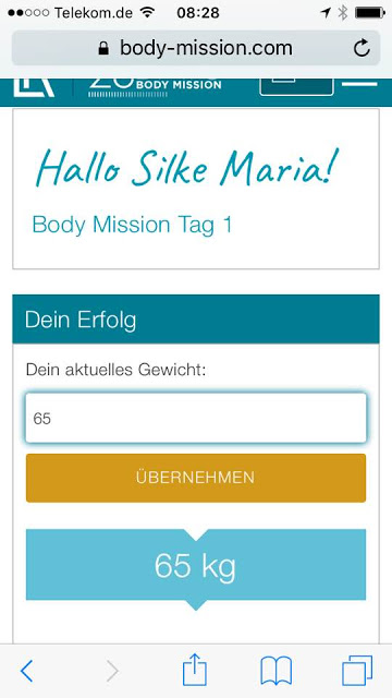 Tag 1 der 28 Days Body Mission!